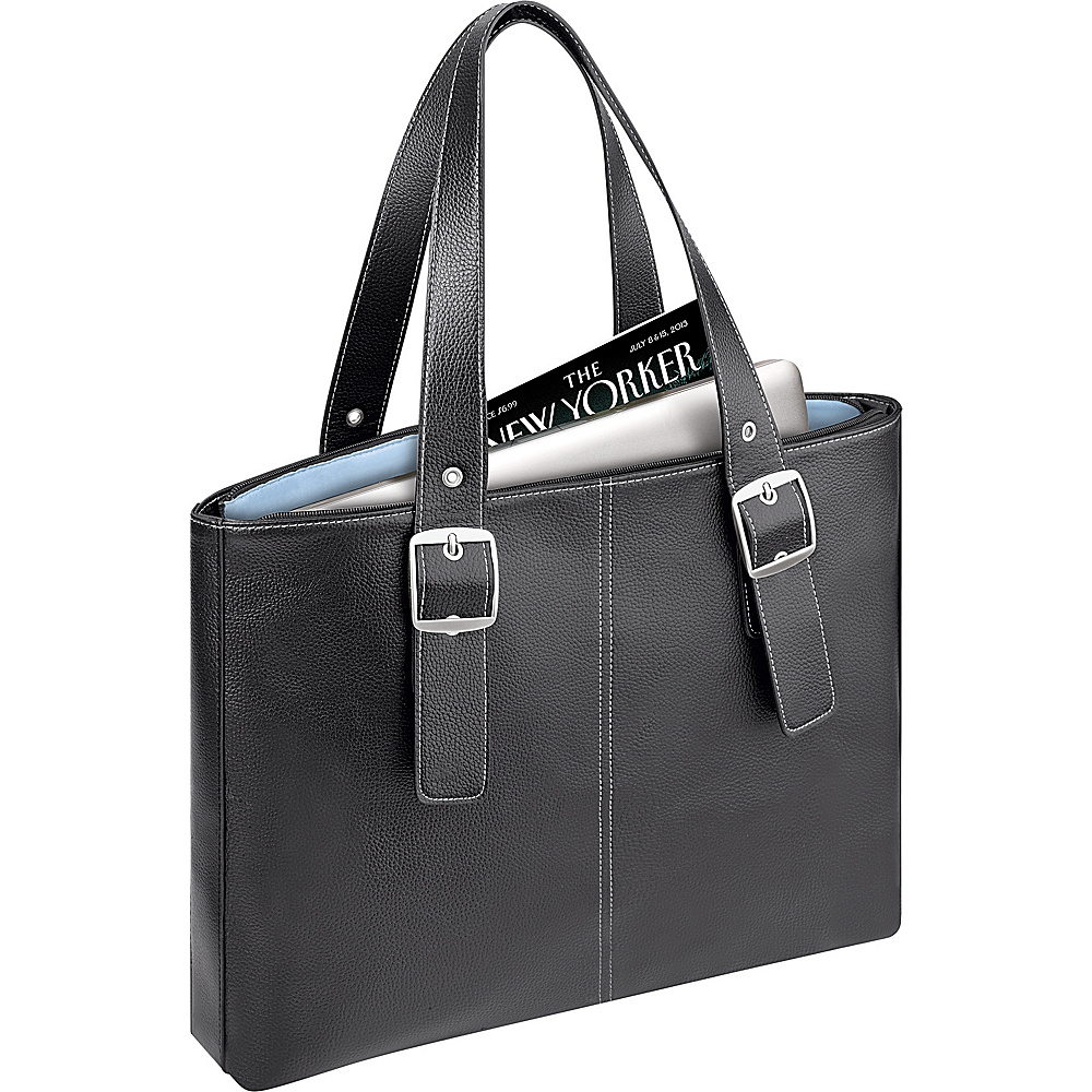 SOLO Ladies Laptop Tote - Black/Blue - Work Bags & Briefcases, Women's Business Bags