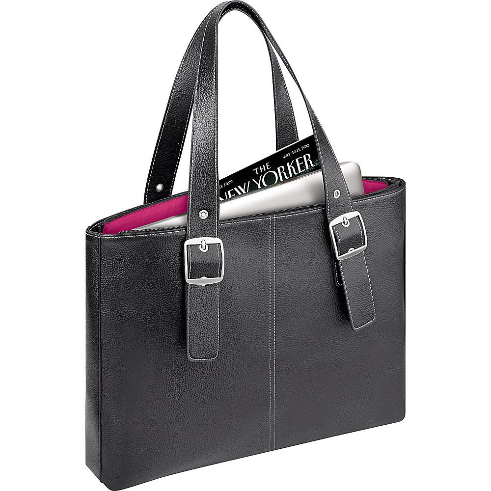 SOLO Ladies Laptop Tote Black Magenta