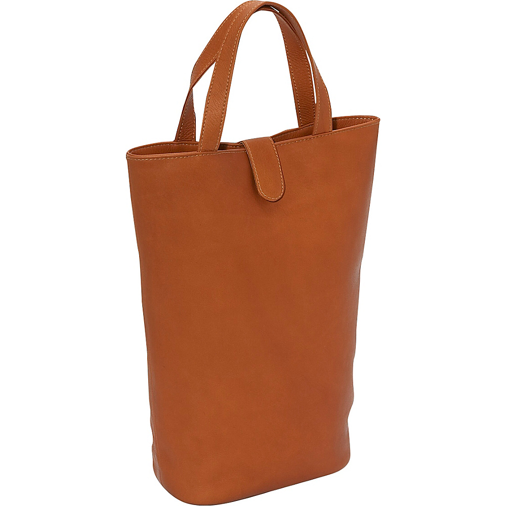 Piel Double Wine Tote Saddle