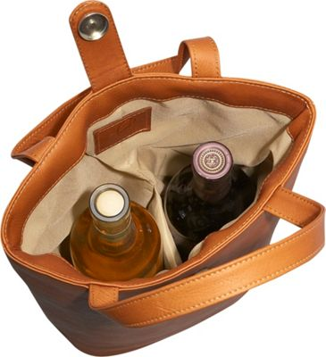 Piel Double Wine Tote - Saddle