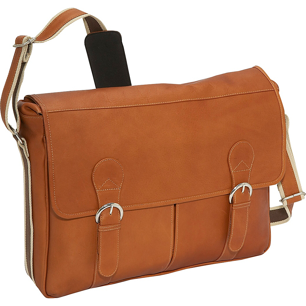 Piel Classic Expandable Laptop Messenger Bag Saddle