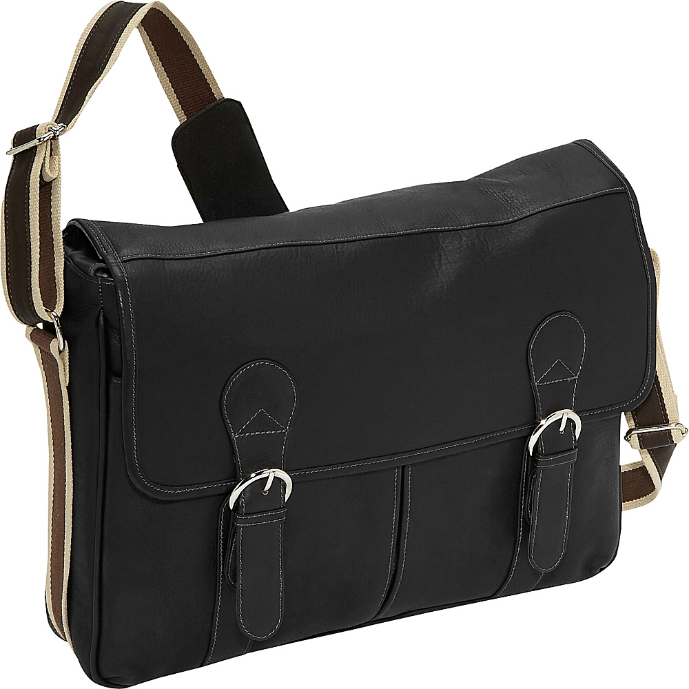 Piel Classic Expandable Laptop Messenger Bag Black