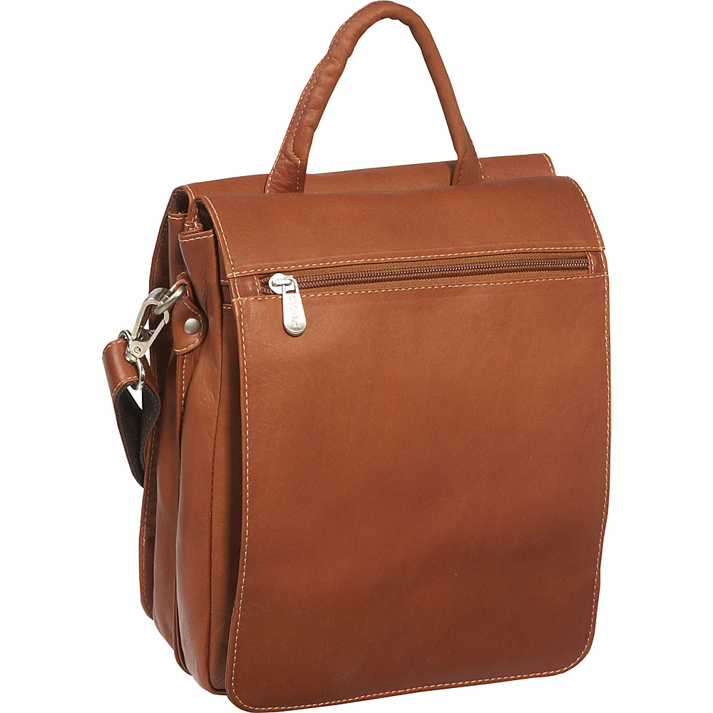 Piel Double Flap Over Shoulder Bag Saddle