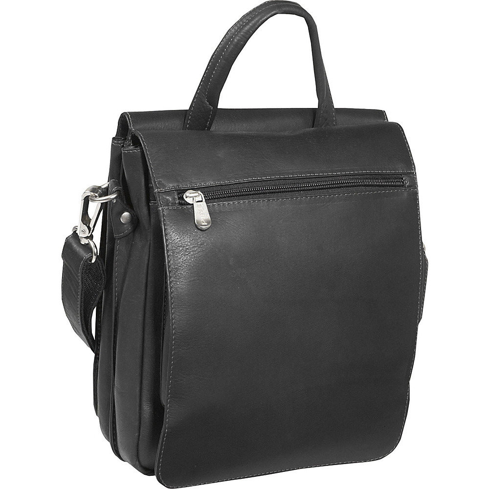 Piel Double Flap Over Shoulder Bag Black