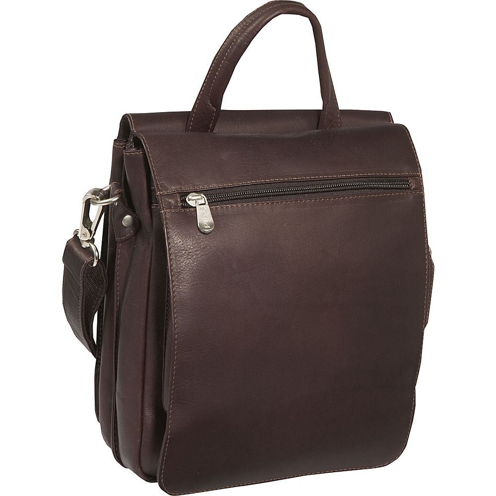 Piel Double Flap Over Shoulder Bag Chocolate