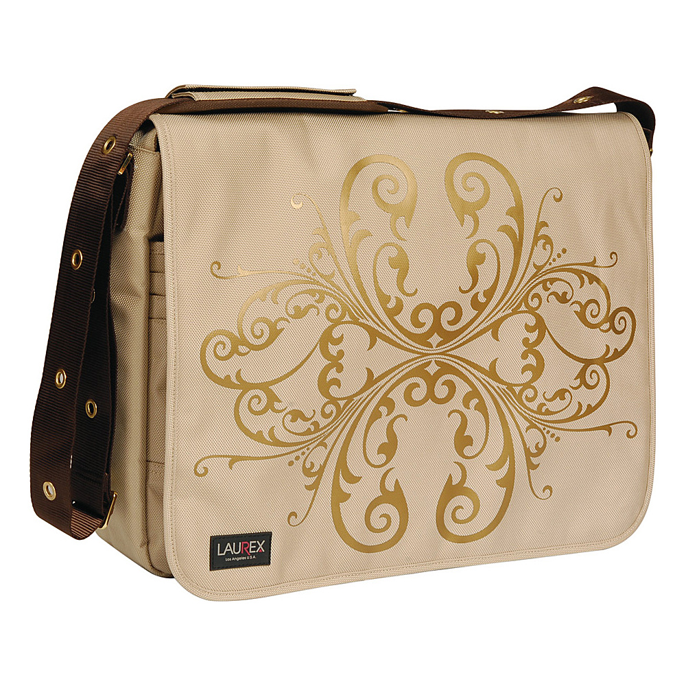 Laurex 17 Laptop Messenger Bag Beige Butterfly