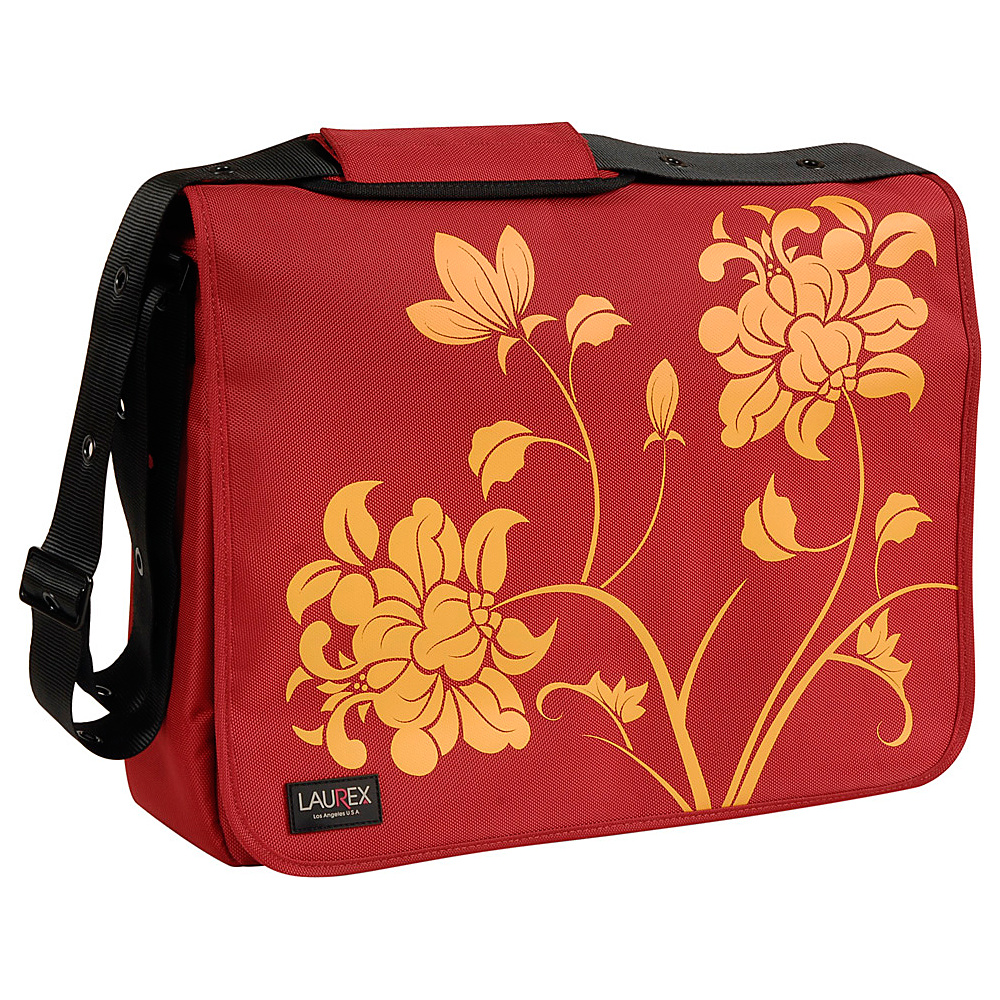 "Laurex 17"" Laptop Messenger Bag - Red Blossom"