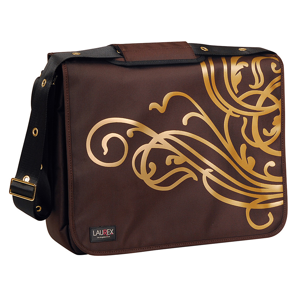 Laurex 17 Laptop Messenger Bag Gold Wave Brown