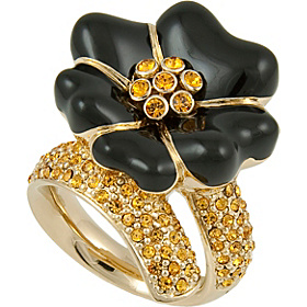 Black Flower Ring Size 7 Gold
