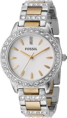 Fossil Ladies 3-Hand Stainless Steel Dual Toned Glitz Watch Silver - Fossil Watches