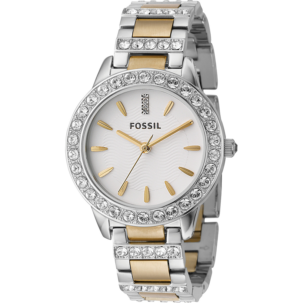 Fossil Ladies 3-Hand Stainless Steel Dual Toned Glitz Watch Silver - Fossil Watches - Fashion Accessories, Watches