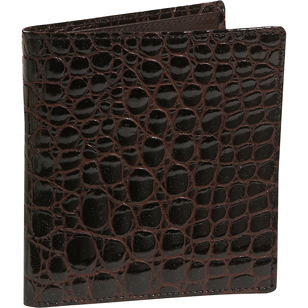 Budd Leather Crocodile Bidente Credit Card Hipster Brown Budd Leather Men s Wallets