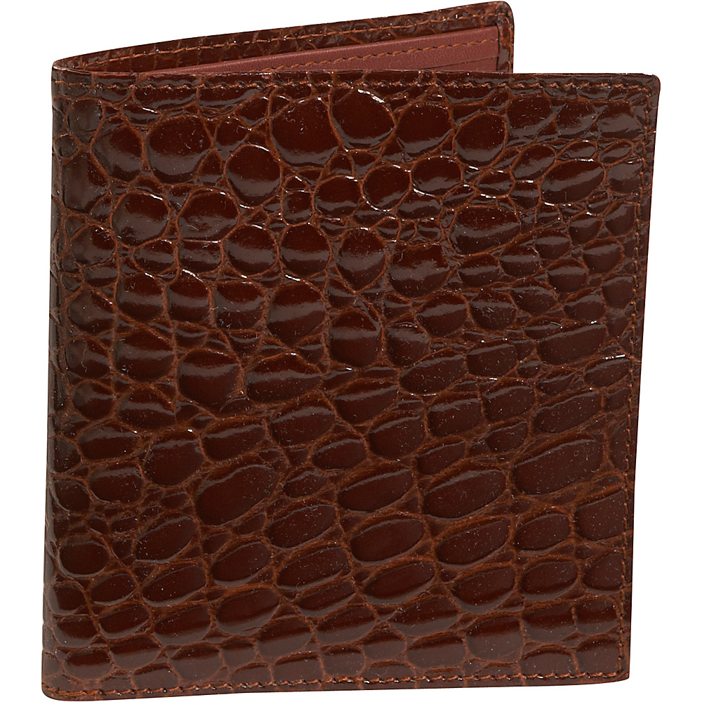 Budd Leather Crocodile Bidente Credit Card Hipster Cognac - Budd Leather Mens Wallets - Work Bags & Briefcases, Men's Wallets