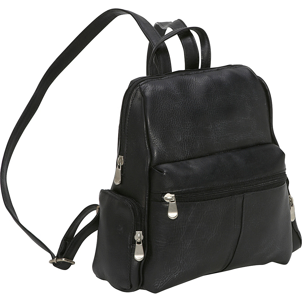 Le Donne Leather Zip Around Backpack/Purse - Black