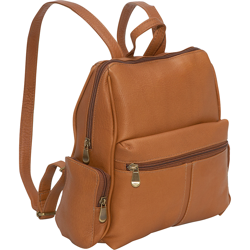 Le Donne Leather Zip Around Backpack/Purse - Tan - Handbags, Leather Handbags