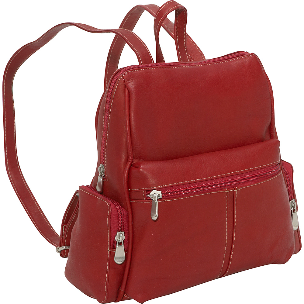 Le Donne Leather Zip Around Backpack/Purse Red
