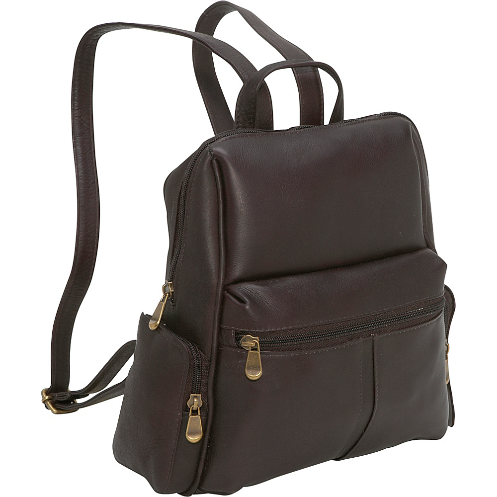 Le Donne Leather Zip Around Backpack/Purse - Caf