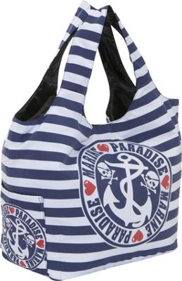 Ashley M Sailor Skull Striped Tote Bag
