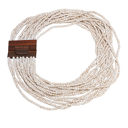 About Color Wood Buckle Necklace - Cream