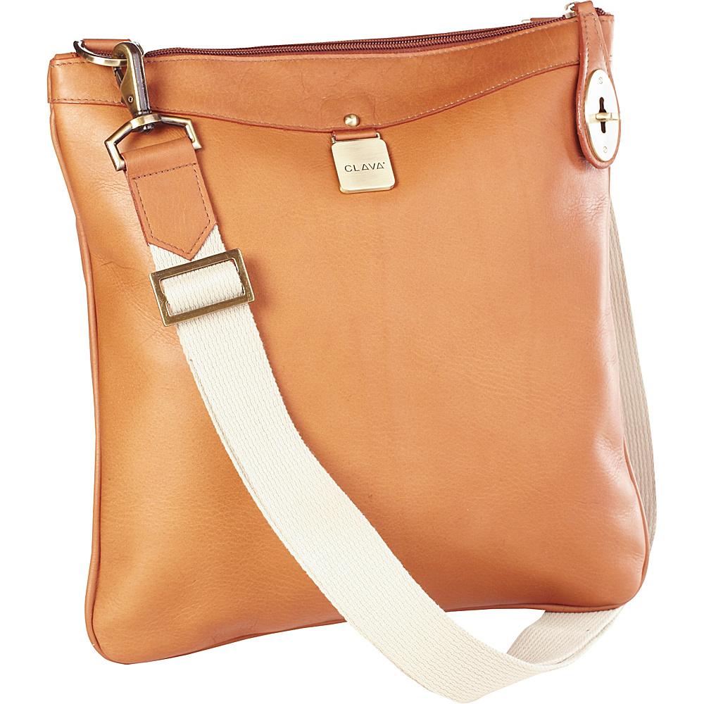 Clava Leather Turnlock Messenger - Vachetta Tan - Handbags, Leather Handbags