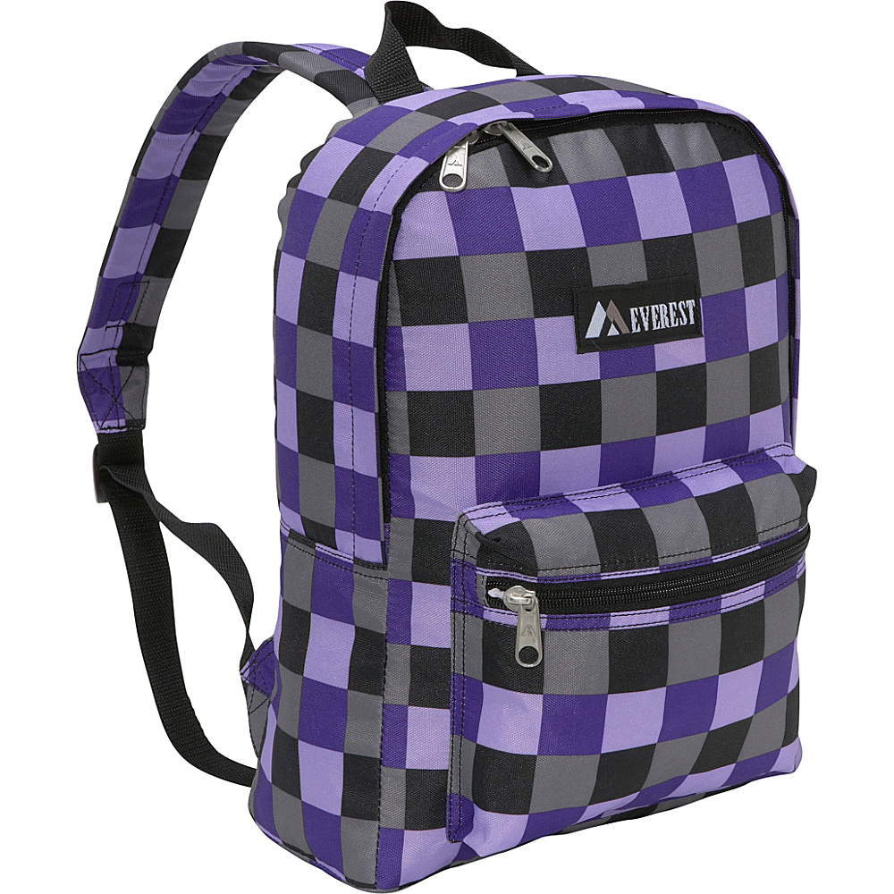 Everest Basic Pattern Backpack - Purple Bold Plaid - Backpacks, Everyday Backpacks