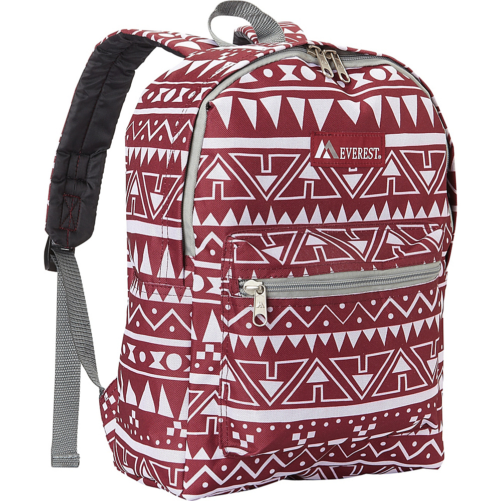 Everest Basic Pattern Backpack Burgundy/White Ethnic - Everest Everyday Backpacks - Backpacks, Everyday Backpacks