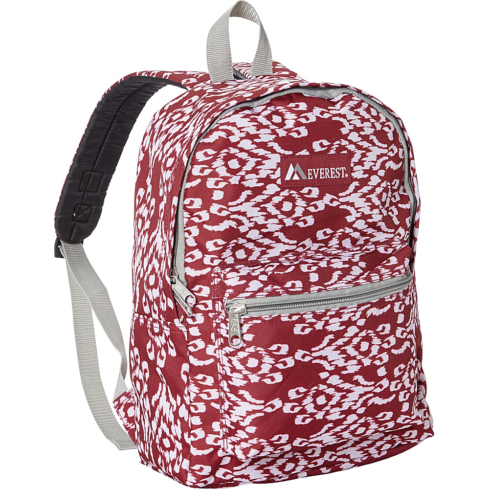 Everest Basic Pattern Backpack Burgundy/White Ikat - Everest Everyday Backpacks - Backpacks, Everyday Backpacks