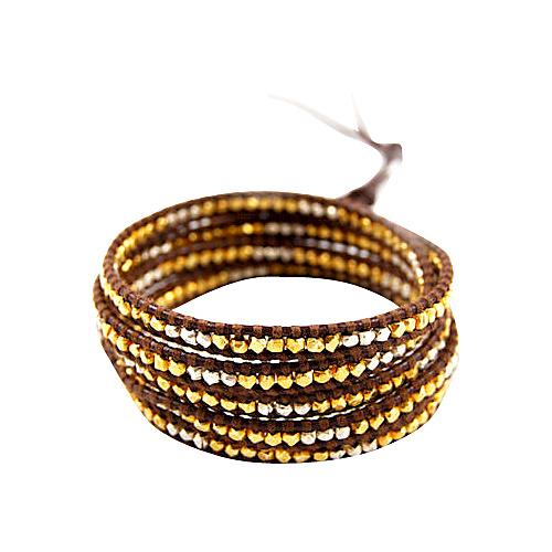 Chan Luu Gold/Silver Bead Mix Brown Leather Wrap Bracelet Brown - Chan Luu Jewelry