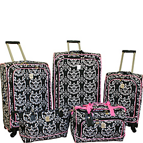 Damask 5 Piece Spinner Luggage Set Black Pink
