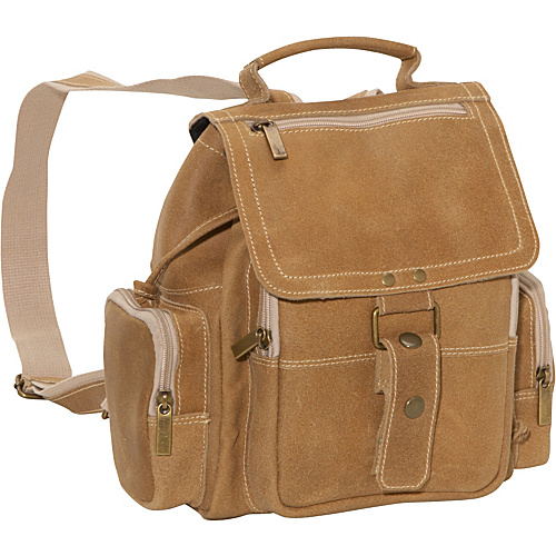 David King & Co. Distressed Mid Size Top Handle Backpack Tan