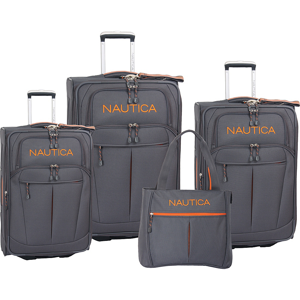 Nautica Helmsman 4 Piece Luggage Set Grey/Orange - Nautica Luggage Sets