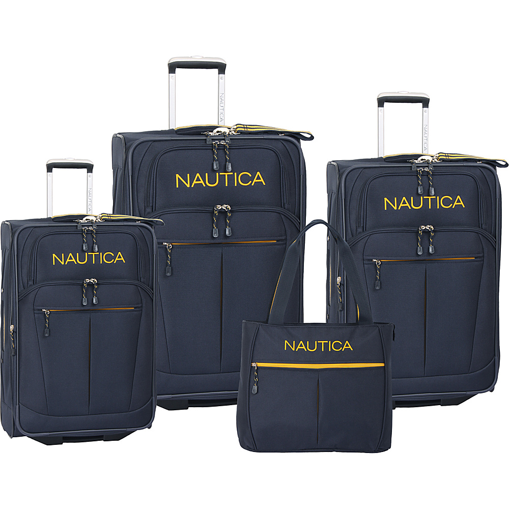 Nautica Helmsman 4 Piece Luggage Set Navy/Yellow - Nautica Luggage Sets
