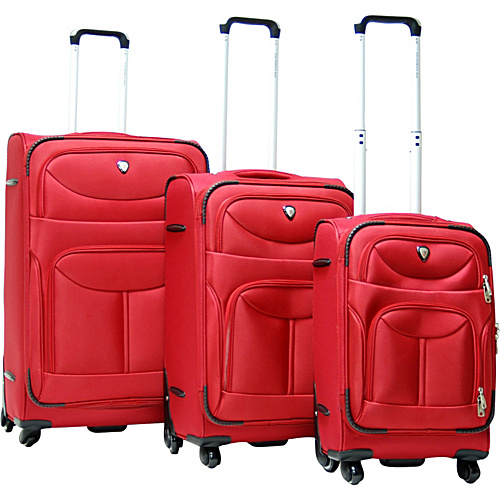 CalPak Langley 3 Piece Spinner Luggage Set Deep Red - CalPak Luggage Sets