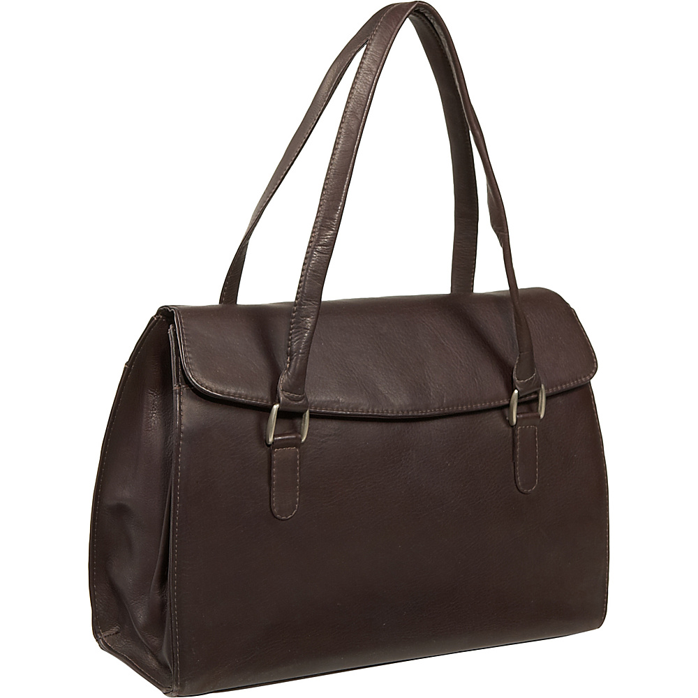 Piel Ladies Laptop Portfolio - Chocolate - Work Bags & Briefcases, Women's Business Bags