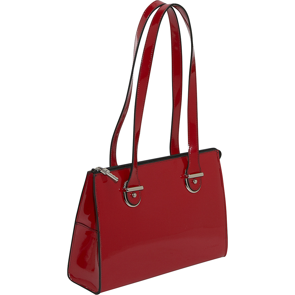 Jack Georges Patent Collection Top Zip Shoulder Handbag Red - Jack Georges Leather Handbags