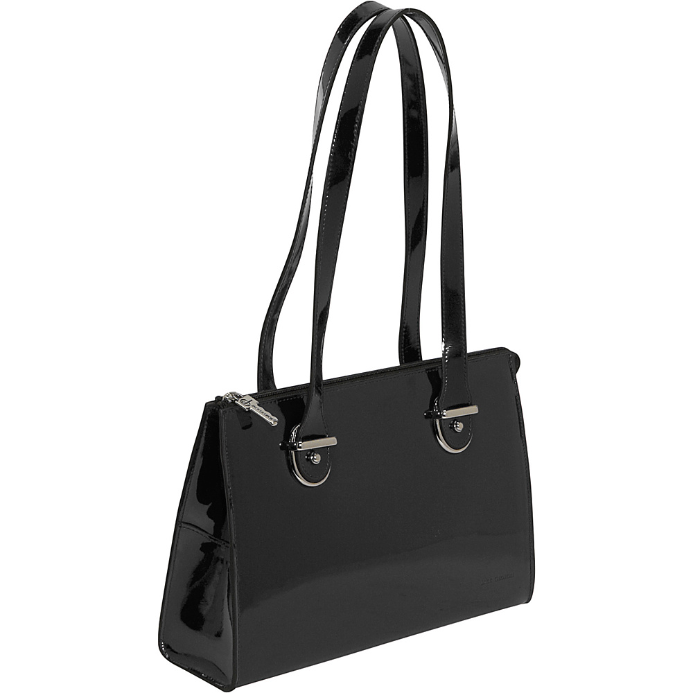 Jack Georges Patent Collection Top Zip Shoulder Handbag Black - Jack Georges Leather Handbags