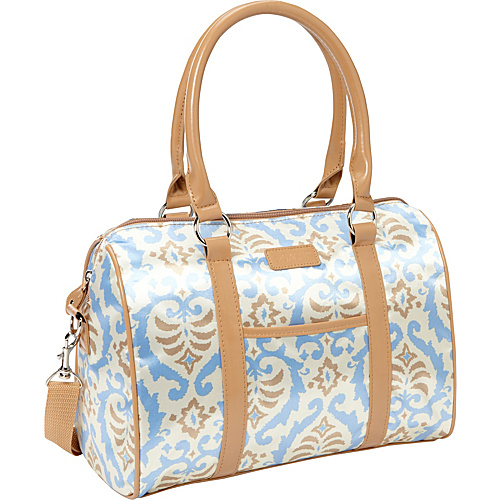Sachi Insulated Lunch Bags Style 21 Ladies' Lunch Satchel Blue Beige Ikat - Sachi Insulated Lunch Bags Travel Coolers