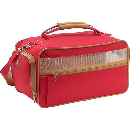 Bark n Bag Nylon Pet Carrier - Medium Red - Red/Tan