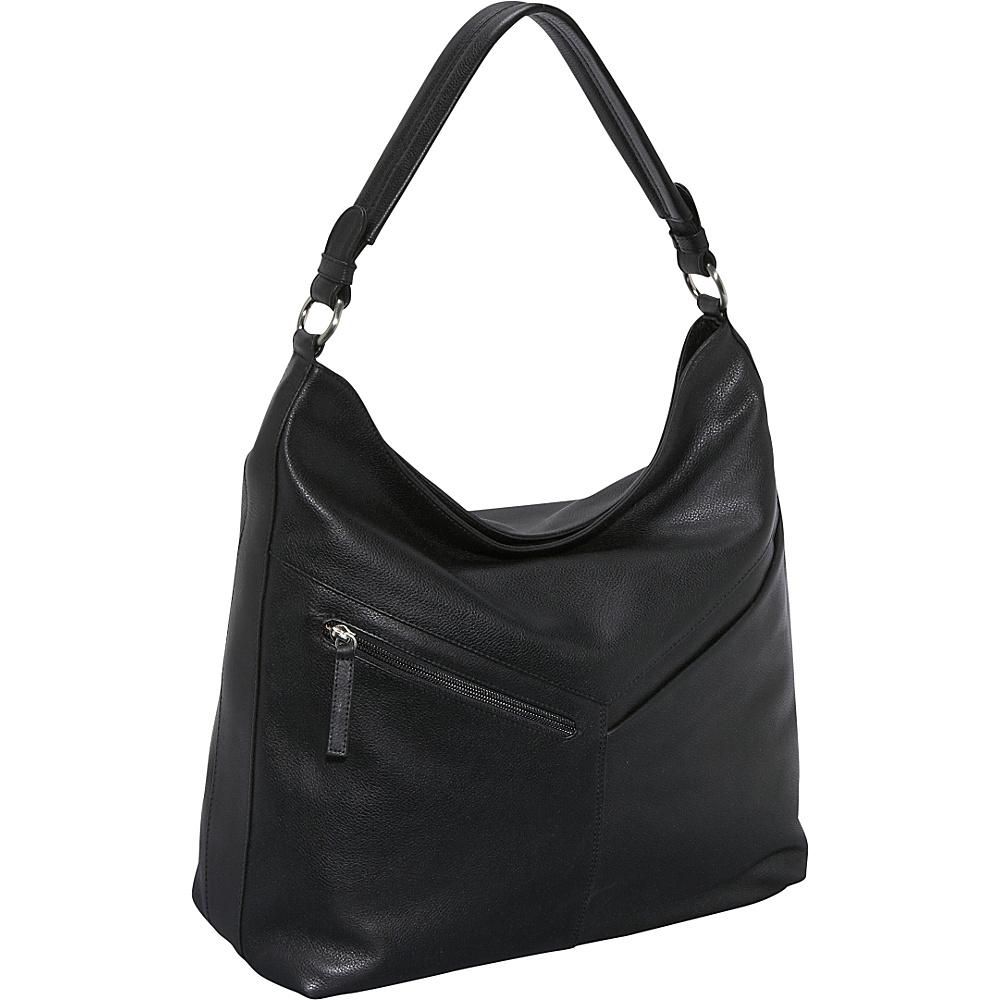 Derek Alexander Large Top Zip Slouch - Black - Handbags, Leather Handbags