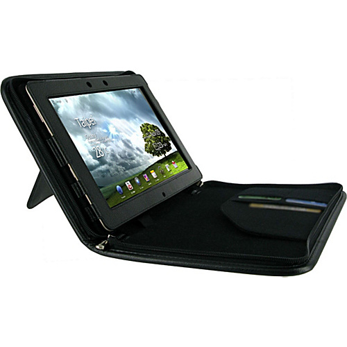 rooCASE Executive Portfolio Leather Case for Asus EEE Pad Transformer PRIME TF201 Black - rooCASE Laptop Sleeves