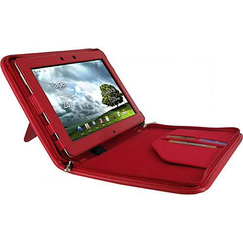 rooCASE Executive Portfolio Leather Case for Asus EEE Pad Transformer PRIME TF201 Red - rooCASE Laptop Sleeves