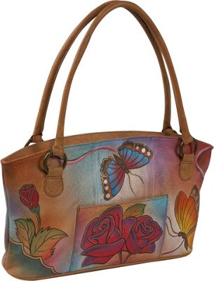 ANNA by Anuschka Wide Tote - Rose Butterfly Rose Butterfly - ANNA by Anuschka Leather Handbags