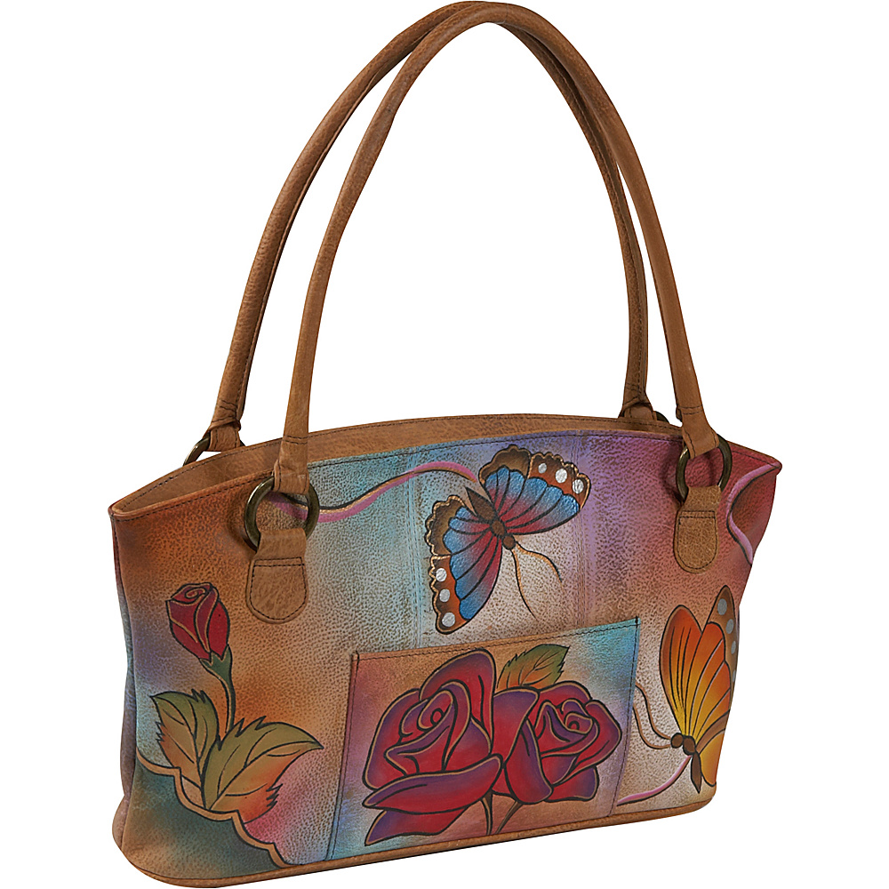 ANNA by Anuschka Wide Tote Rose Butterfly Rose Butterfly ANNA by Anuschka Leather Handbags
