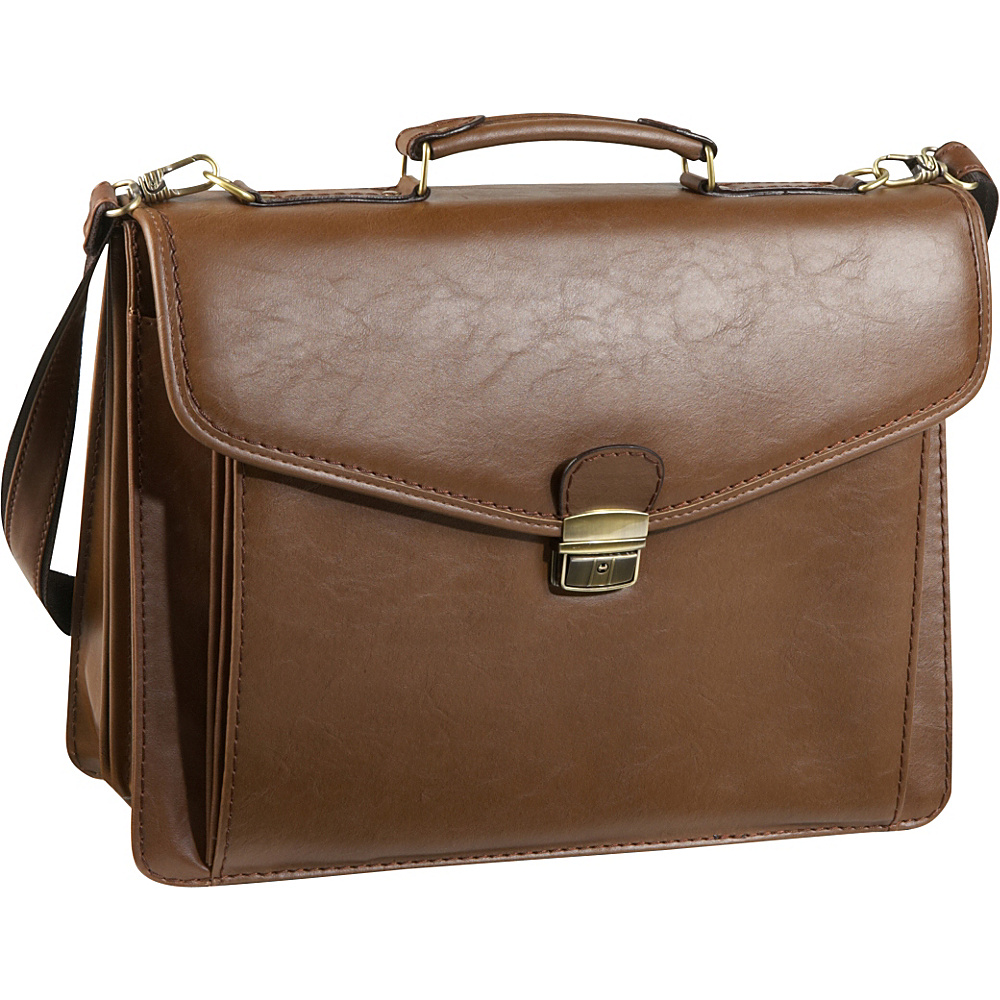AmeriLeather Cleveland Executive Briefcase - Brown - Work Bags & Briefcases, Non-Wheeled Business Cases