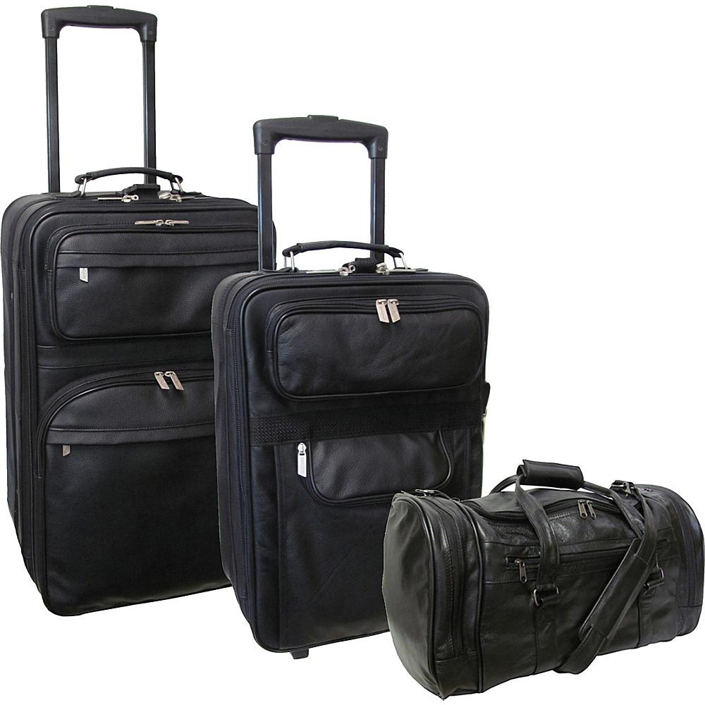 AmeriLeather Leather 3 Pc. Set Traveler - Black - Luggage, Luggage Sets
