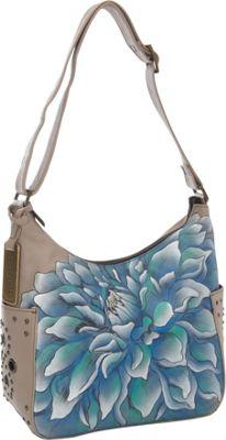 Anuschka Hobo with Side Pockets Dreamy Dahlias - Anuschka Leather Handbags