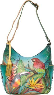 Anuschka Hobo with Side Pockets Tropical Bliss (TBL) - Anuschka Leather Handbags