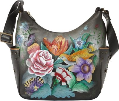 Anuschka Hobo with Side Pockets Vintage Bouquet - Anuschka Leather Handbags