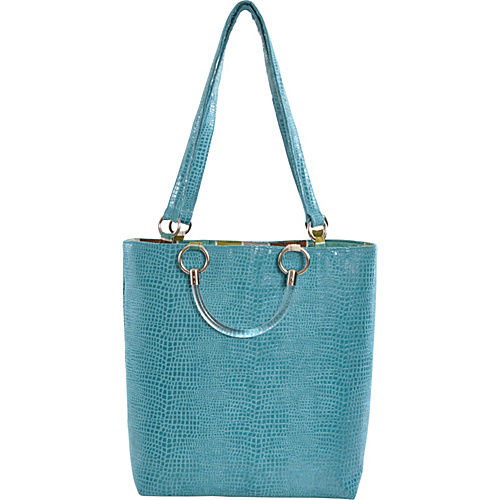 Baxter Designs Large Boa Tote Teal - Baxter Designs Fabric Handbags