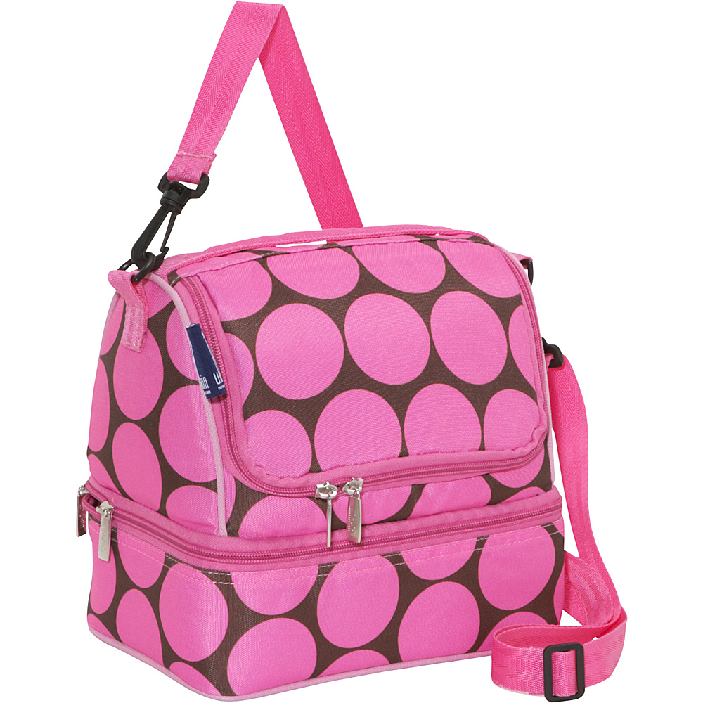 Wildkin Big Dot Pink Two Compartment Lunch Bag Big Dots Hot Pink - Wildkin Travel Coolers